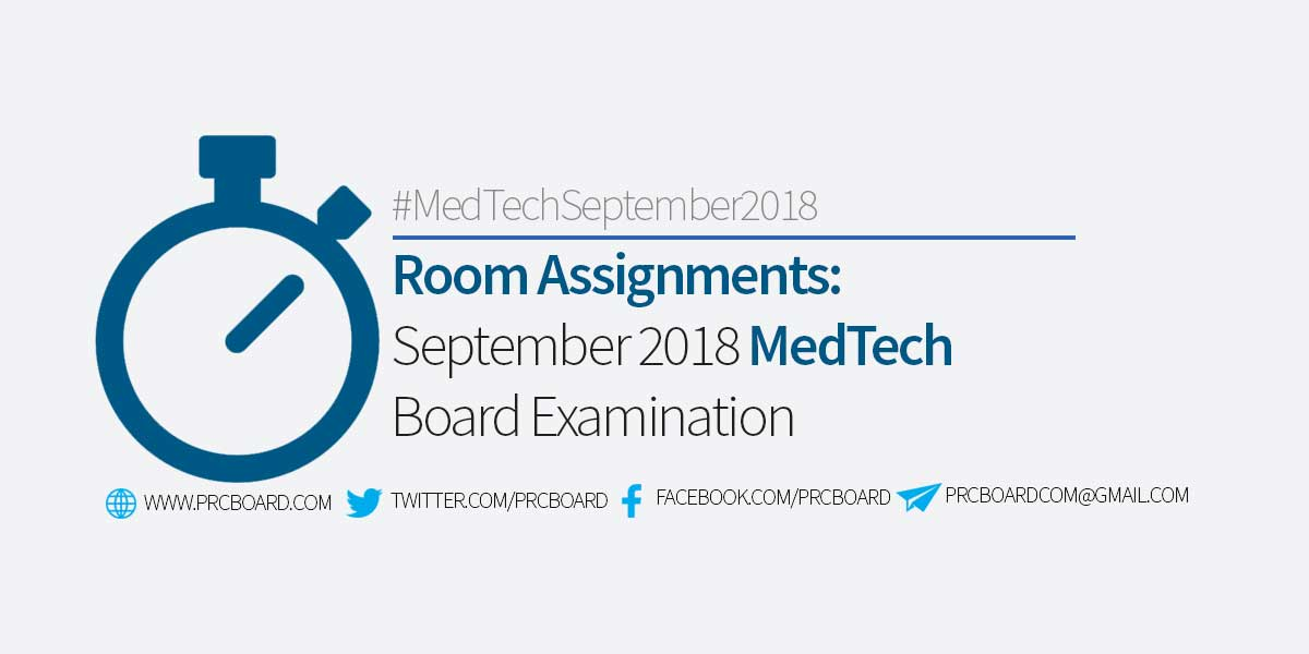 Room Assignment September 2018 Medtech Board Exam Prcboard