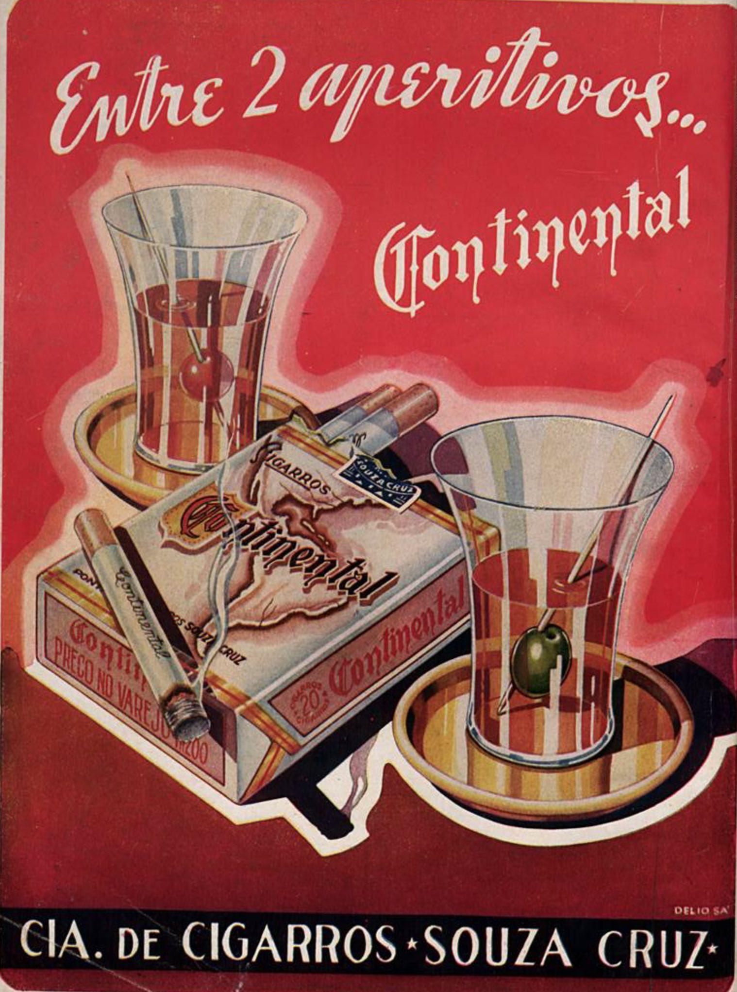 Anúncio dos Cigarros Continental em 1942 associando o cigarro ao lazer