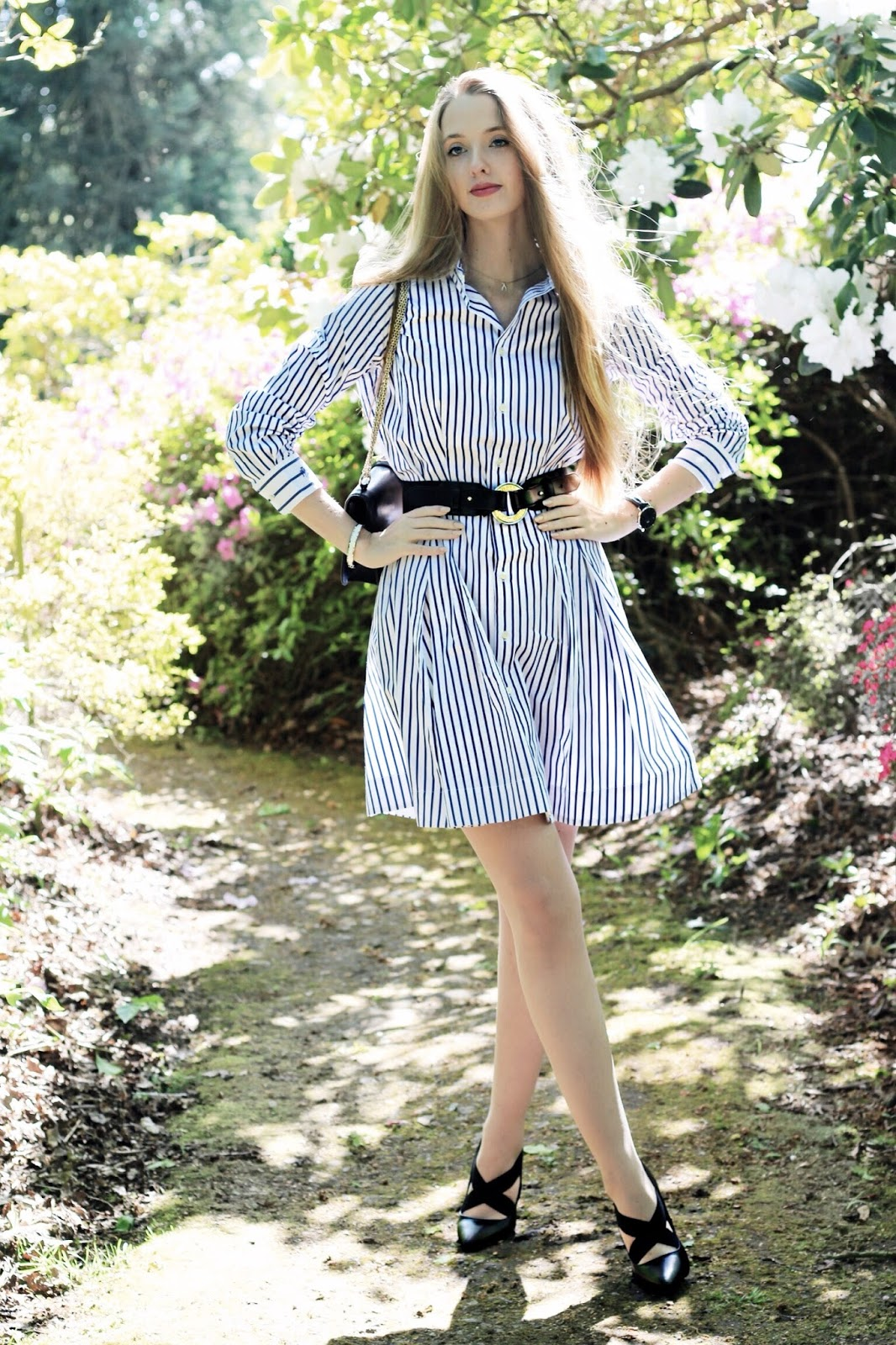 Ralph Lauren Blue and White Striped Poplin Dress