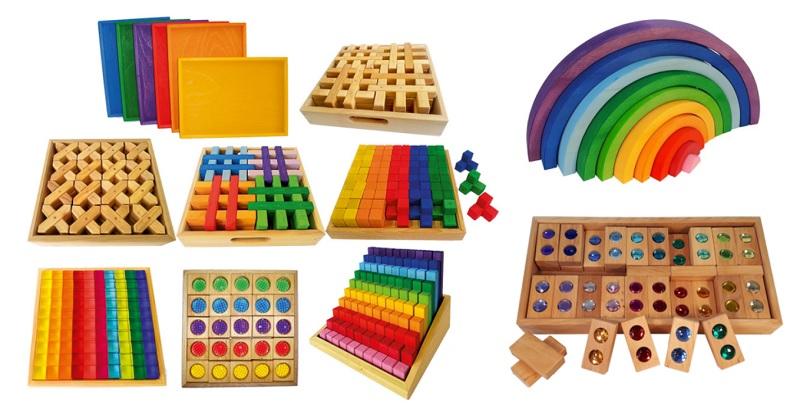 Bauspiel wooden blocks, rainbow, colour street and lucite blocks