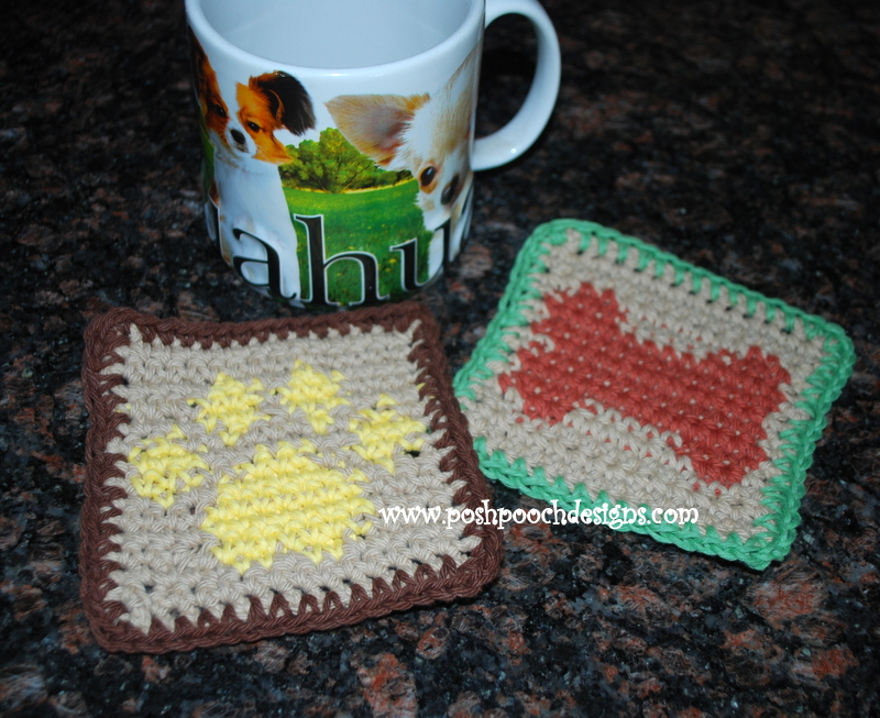 Posh Pooch Designs Dog Clothes Paw Print Graph Coaster Free Crochet
