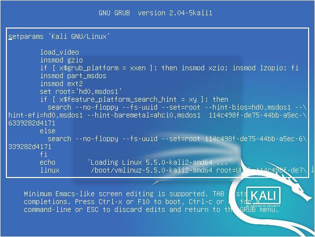 Edit Grub Kali Linux