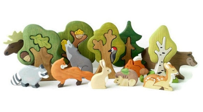wooden caterpillar woodland animals and trees