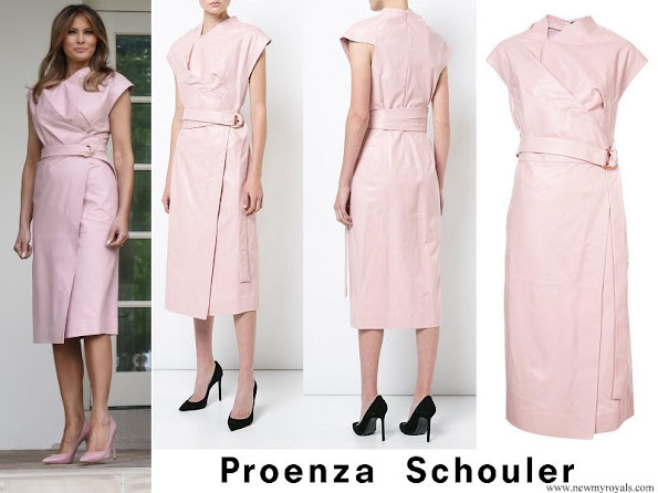 Melania Trump wore Proenza Schouler Pink Sleeveless Wrap around Dress