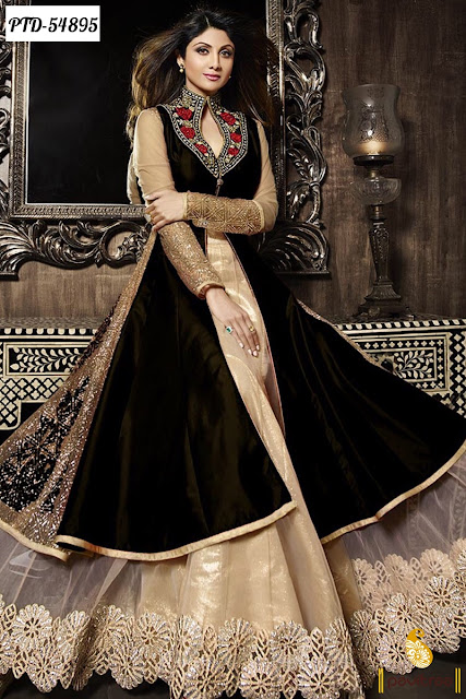 black beige chiffon Shilpa Shetty heavy work floor length anarkali salwar suit online shopping with discount sale