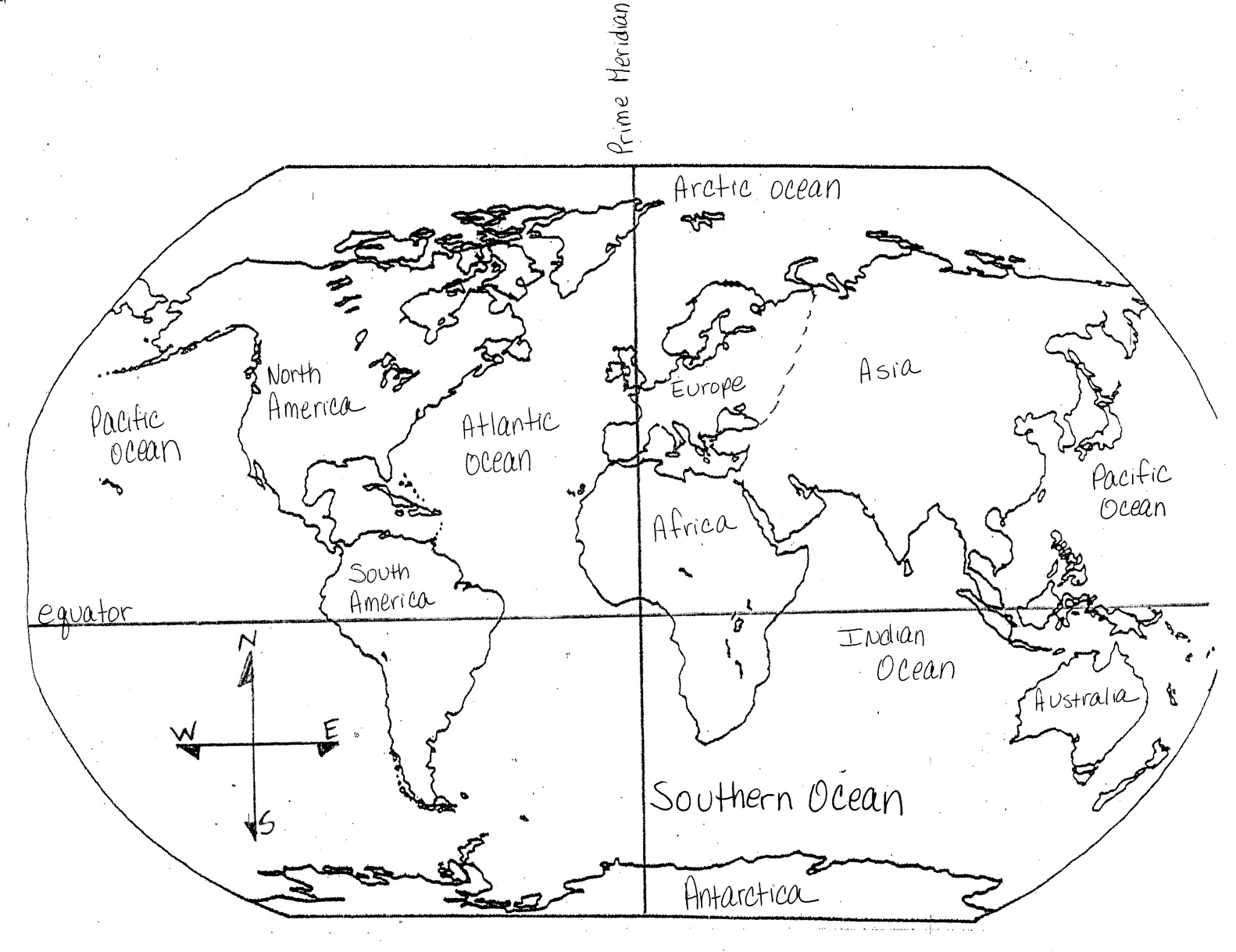 Blank Map Of 7 Continents And 4 Oceans