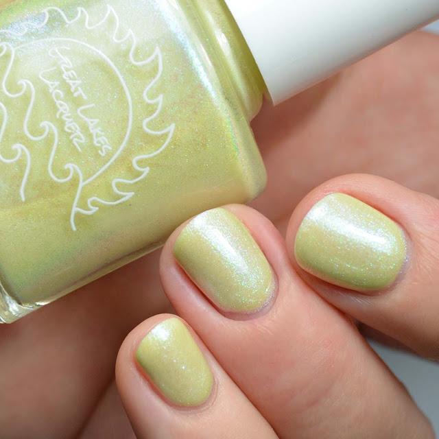 lemon yellow shimmer nail polish swatch
