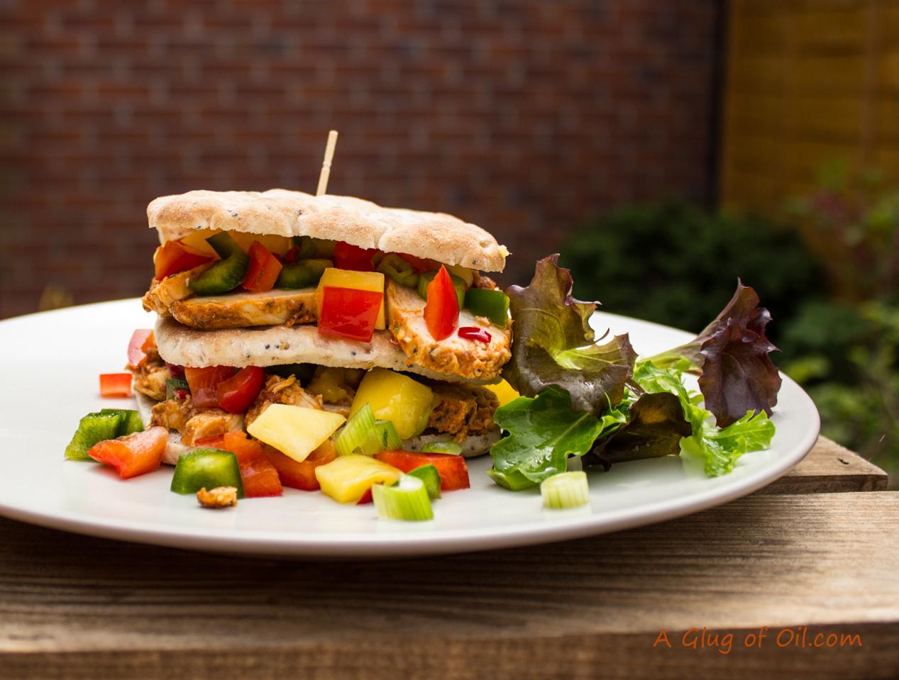 Fiery Chicken Club Sandwich with Mango Salsa