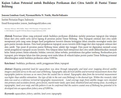 Kajian  Lahan  Potensial  untuk  Budidaya  Perikanan  dari  Citra  Satelit  [PAPER]