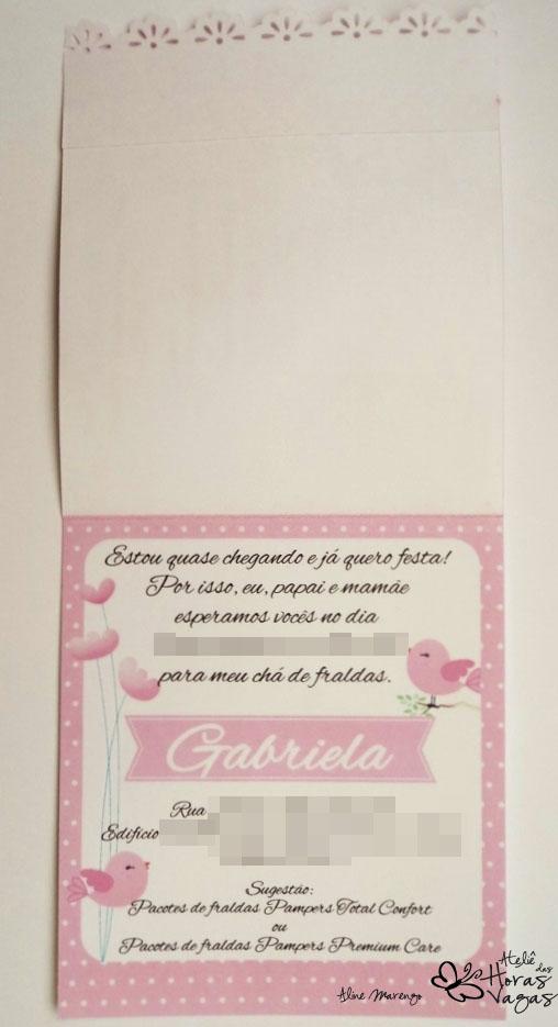 convite artesanal aniversário infantil 1 aninho passarinho jardim floral rosa branco bebê