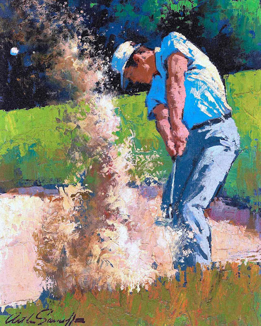 an Arthur Sarnoff illustration about golf, show a swing from a sand trap