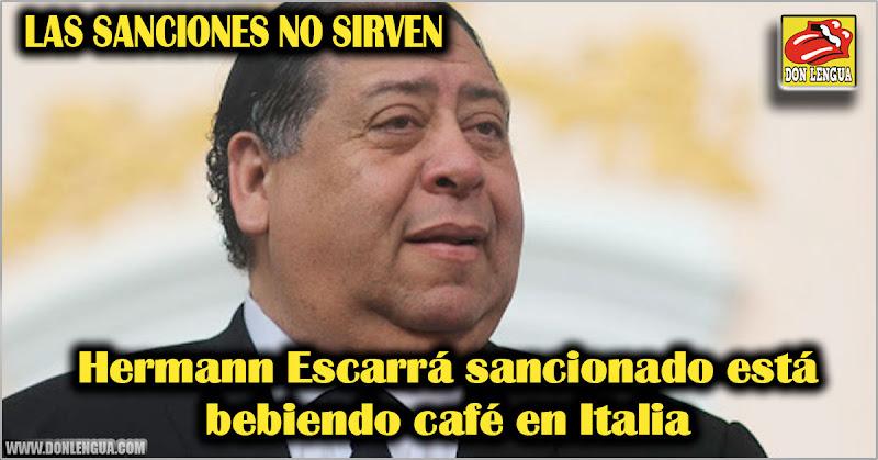 LAS SANCIONES NO SIRVEN | Hermann Escarrá sancionado está bebiendo café en Italia
