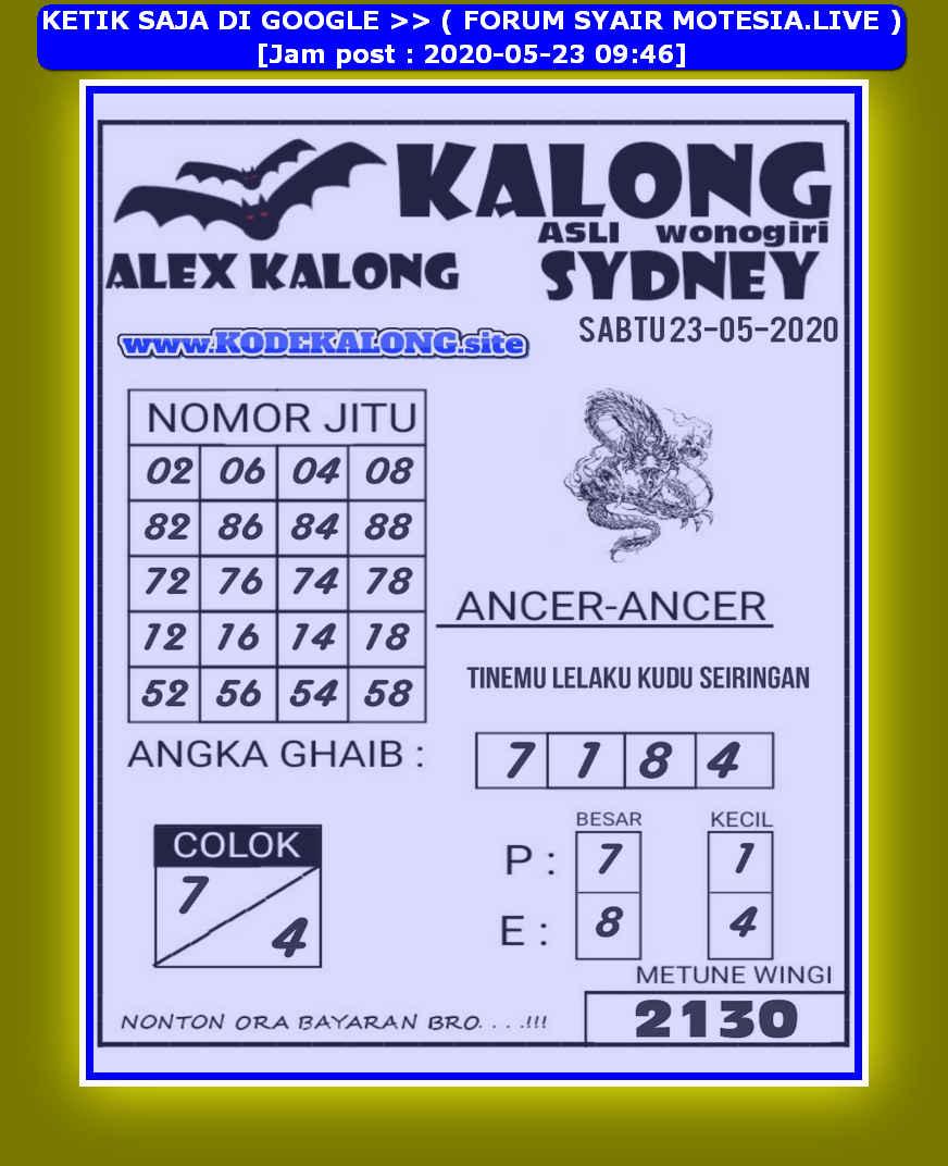 Kode syair Sydney Sabtu 23 Mei 2020 66