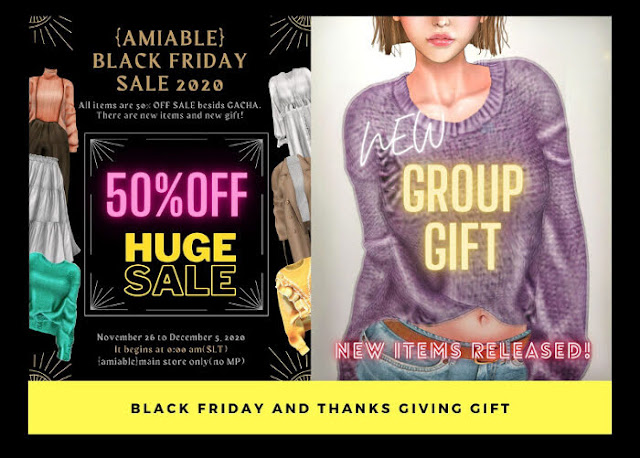 {amiable}BLACK FRIDAYSALE 2020 50%OFF SALE and GROUP GIFT@main store.