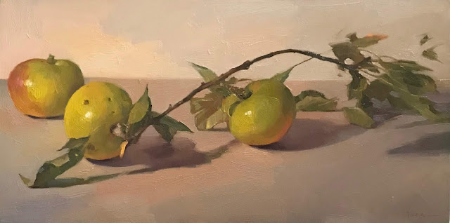 apple painting art still life oil on canvas sarah sedwick