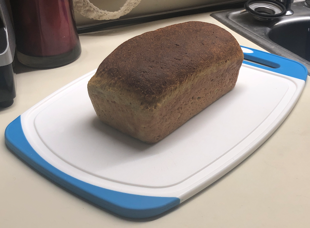 Second loaf of keto yeast bread on cutting board