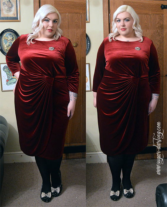 43fc4a0aa48f0 The side drape of the dress is lovely and so flattering to a bigger tummy.  The velour is lovely and soft and such a gorgeous deep holly berry red