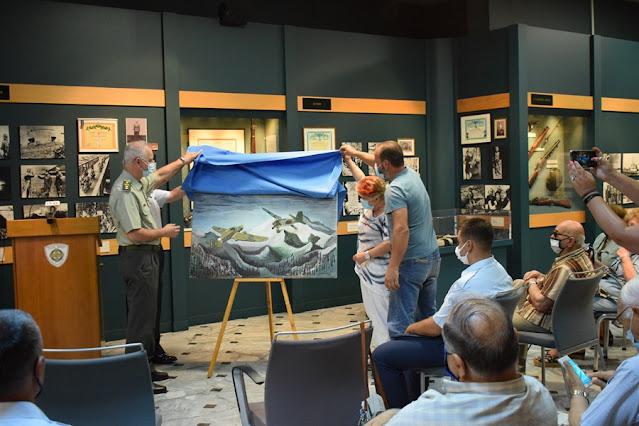 Πίνακας με το ηρωικό κατόρθωμα του Γρηγόρη Βαλκανά στο Πολεμικό Μουσείο Τρίπολης