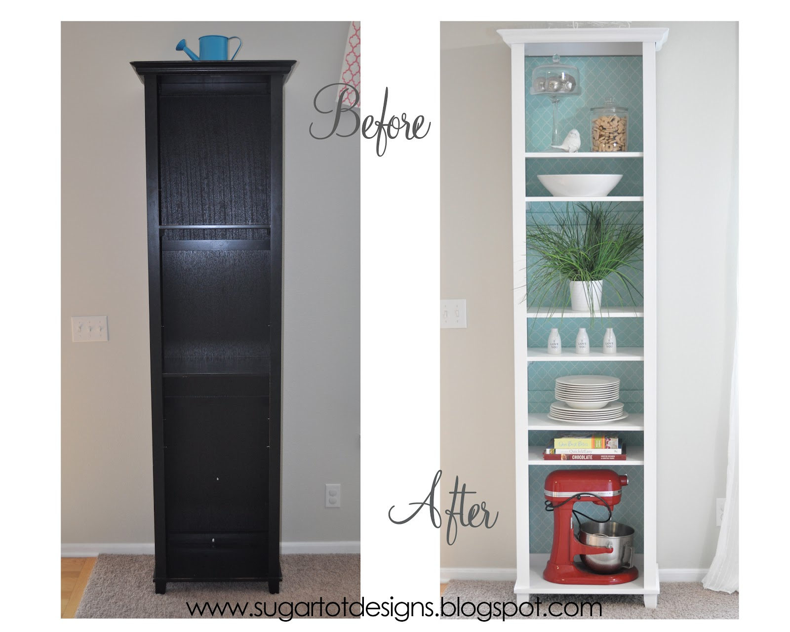 Sugartotdesigns White Bookshelf Makeover With Removable Lining
