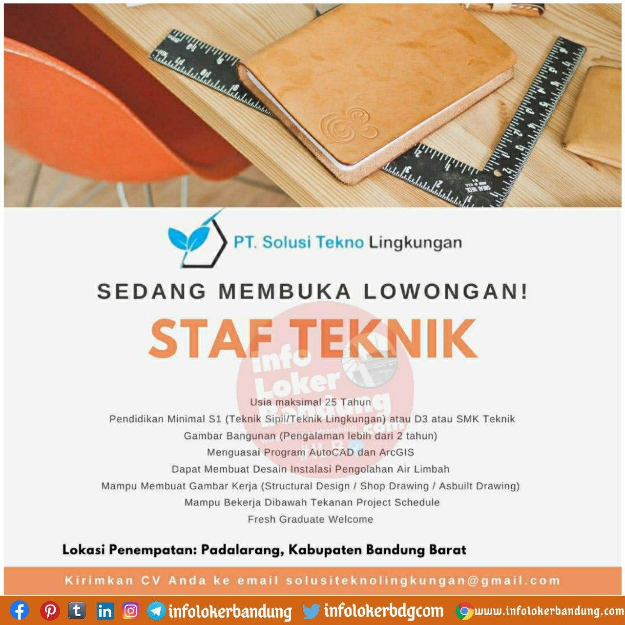 Lowongan Kerja PT. Solusi Tekno Lingkungan Bandung Oktober 2020