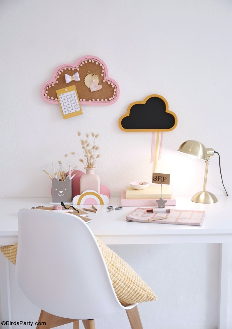 Kids Study Desk DIY Décor - easy craft and creative ideas to re-vamp or update your child's homework space ready for back to school! by BirdsParty.com @BirdsParty #diy #carfts #boho #decor #homedecor #backtoschool #kidsbedroom #bohokids #deskdecor #homeimprovement