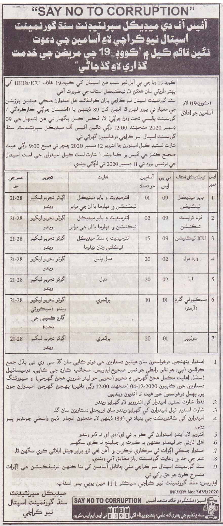 Sindh Government Announced Health Jobs 2020 for COVID-19 in Karachi