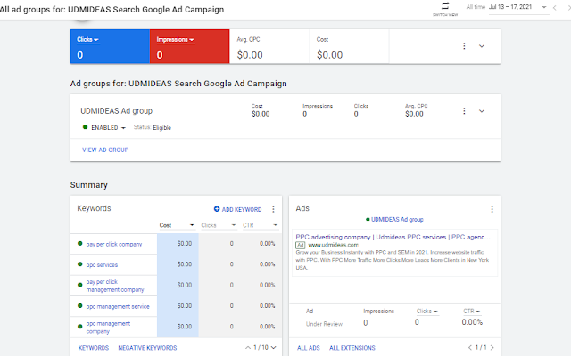 Add is under review for UDMIDEAS PPC Agency NYC