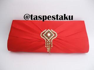 Tas Pesta Dompet Warna Merah Red Elegant Cantik
