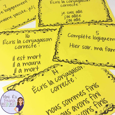 French passé composé task cards and scoot game