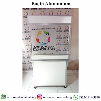 Meja Promosi Booth Aluminium Portable Lipat Bongkar Pasang