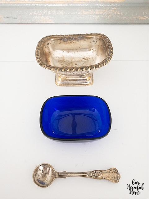 silver salt cellar cobalt blue glass insert silver spoon