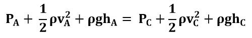 Ecuación de Bernoulli entre los puntos A y C del ejemplo 2