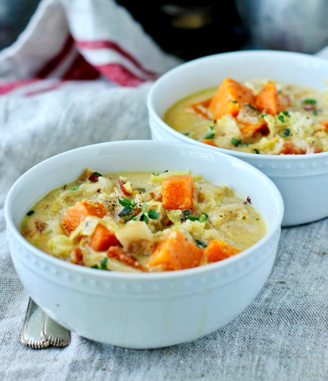 Savoy cabbage and bacon soup