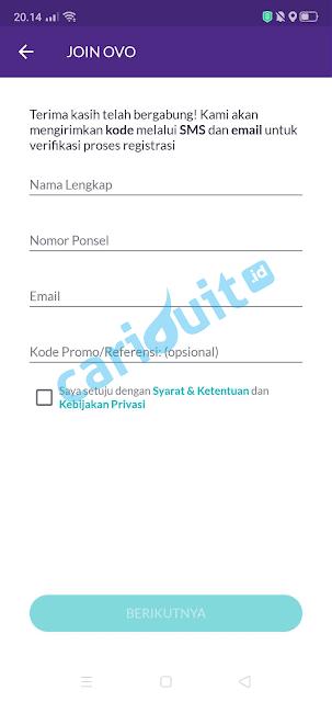 Cara Registrasi Ovo dan Transfer ke Rekening Bank