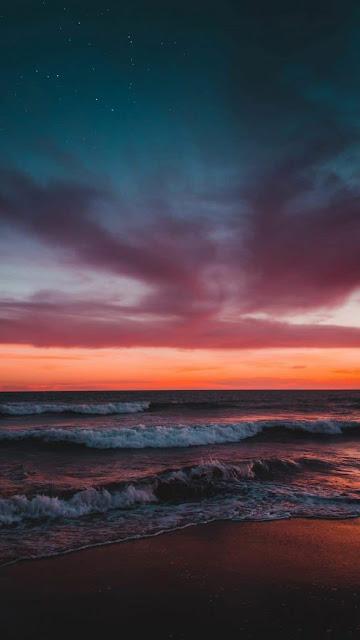 tramonto sul mare, cielo stellato