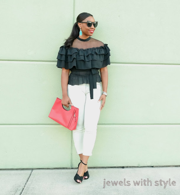 ruffle shirt, black off the shoulder shirt, black ruffle off the shoulder shirt, how to wear statement pieces, statement pieces for clothing, how to upgrade your wardrobe, jewels with style, columbus ohio stylist, columbus ohio fashion stylist, black fashion blogger, black style blogger, columbus ohio blogger, how to wear cropped jeans, how to wear a red clutch purse, jewels with style, off the shoulder shirt outfit ideas, cat eye sunglasses, black cat eye sunglasses