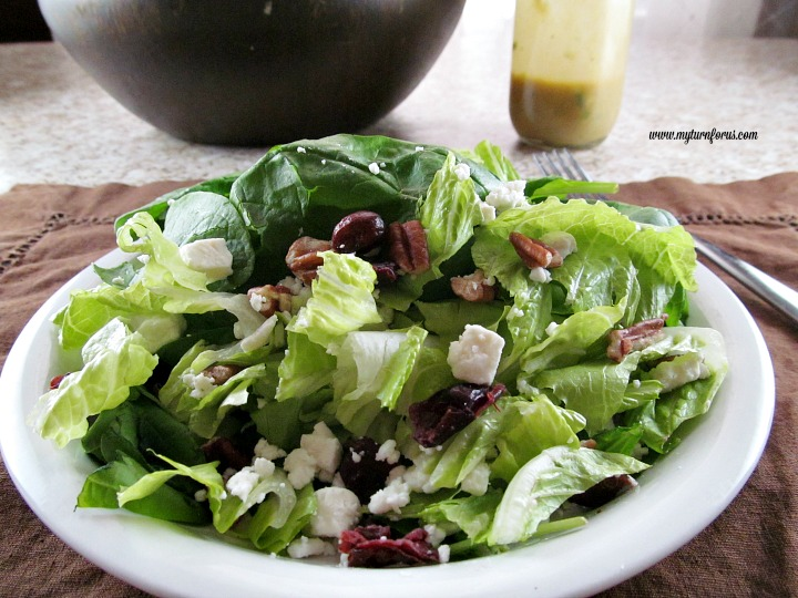 feta cheese, pecans, and cranberry green salad