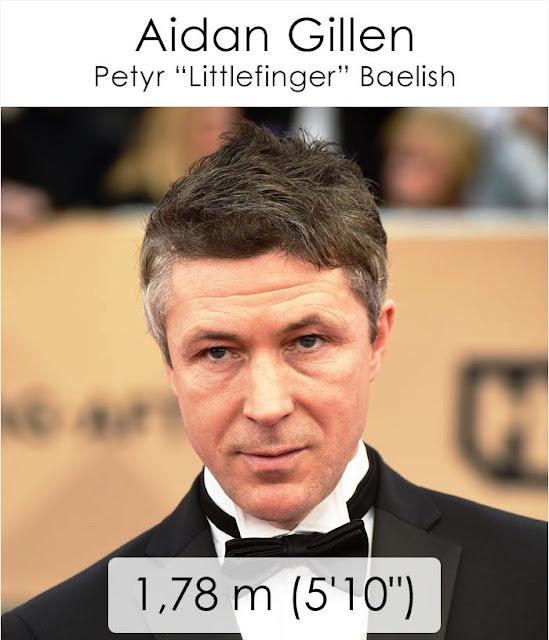 "Aidan Gillen (Petyr ""Littlefinger"" Baelish) 1.78 m"