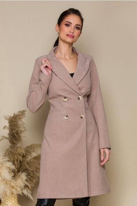 Palton elegant lung de iarna bej cu rever crestat