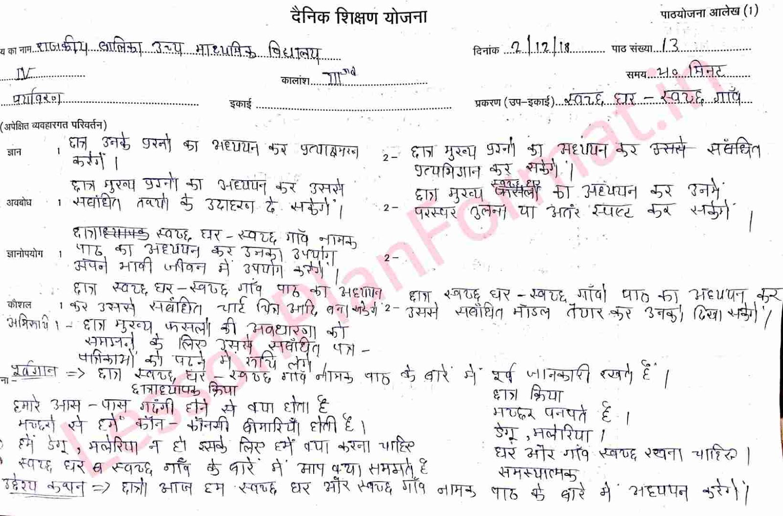 EVS Lesson Plan in Hindi Swacch Ghar