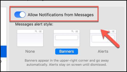 """انقر على شريط التمرير """"السماح بالإشعارات من الرسائل"""" لتعطيل جميع الإشعارات من تطبيق الرسائل على نظام macOS"""