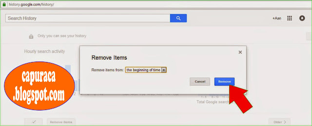 Cara menghapus Google search history,the beginning of time,Remove