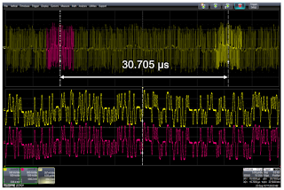 This shows the repeating 2047-bit pattern of  test mode #4 and its 30.075-μs period