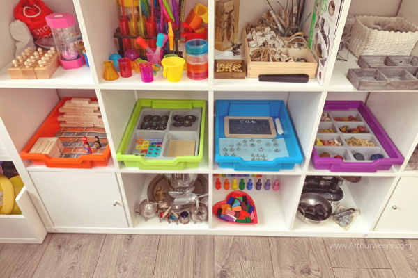 Open plan shelving with gratnells tray activity ideas