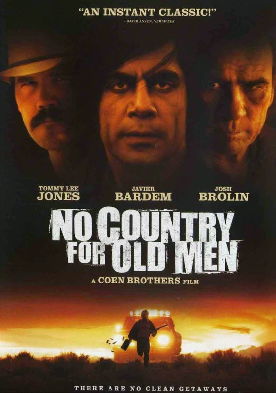 No Country for Old Men, Movie Poster, Directed by Joel and Ethan Coen, starring Tommy Lee Jones, Javier Bardem and Josh Brolin