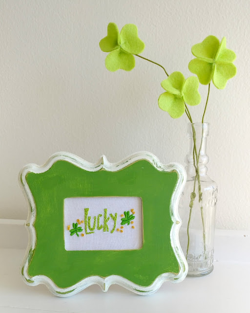 felt shamrocks and lucky embroidery pattern