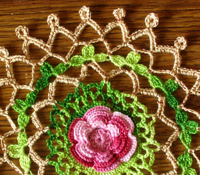 Closeup of Red Rose Doily with Gold Metallic Accents - By Ruth Sandra Sperling at RSS Designs In Fiber