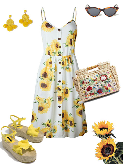 Sunflowers print summer dress