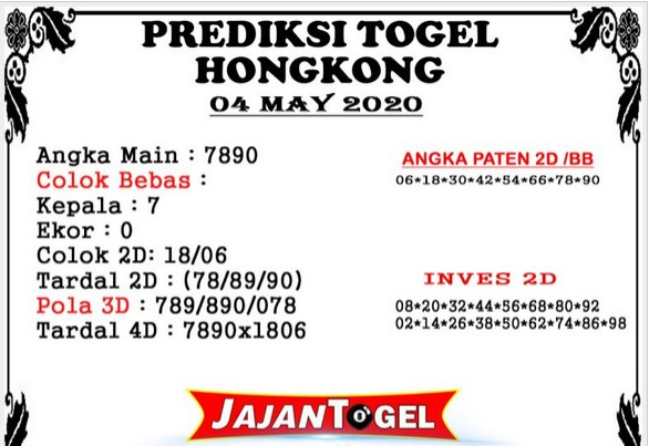 Prediksi HK Malam Ini 04 Mei 2020 - Prediksi Jajan Togel