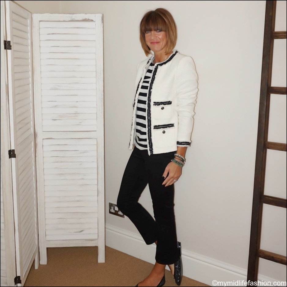 my midlife fashion, lk Bennett Charlee jacket, Raey stripe round neck long sleeve t shirt, j crew cropped kick flare billie jeans, French sole Henrietta glitter ballet pumps, the sea tree company mindful bracelets